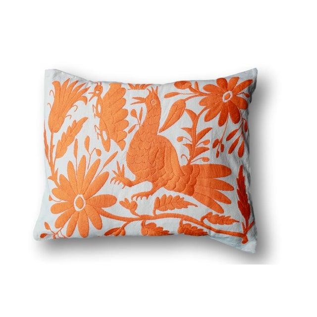 Orange Tenango Pillows - A Pair - Image 3 of 5