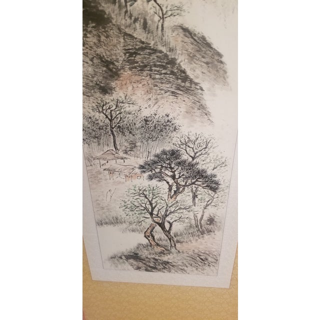 1960s Vintage Korean Hand Painted Seasons Silk Screen For Sale In Chicago - Image 6 of 11