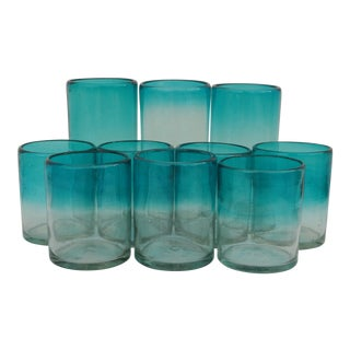 Ombré Ocean Blue Drinking Glasses - Set of 10 For Sale