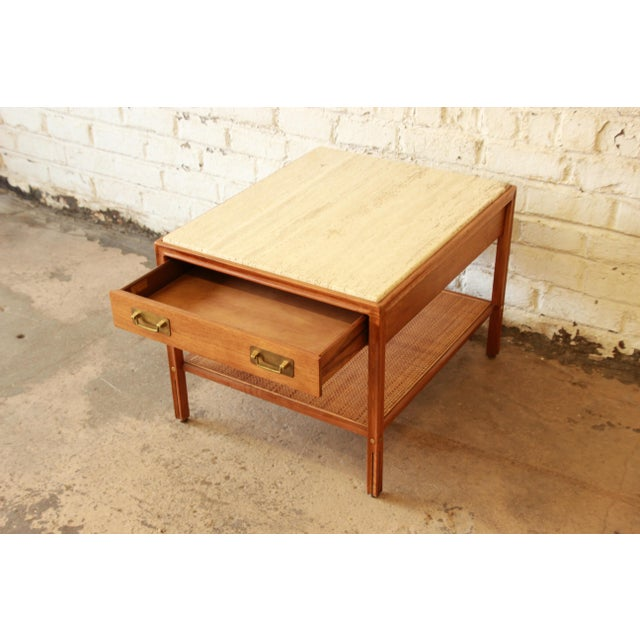 Gerry Zanck Gerry Zanck for Gregori Mid-Century Walnut & Travertine Side Table For Sale - Image 4 of 11
