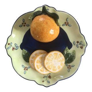 Vintage Bella Casa Ceramic Decorative 3-D Hanging Dinner Plate of Orange by Ganz For Sale