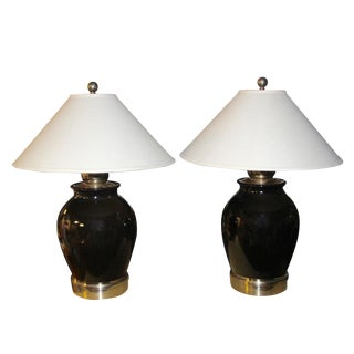 Pottery and Brass Table Lamps - a Pair For Sale