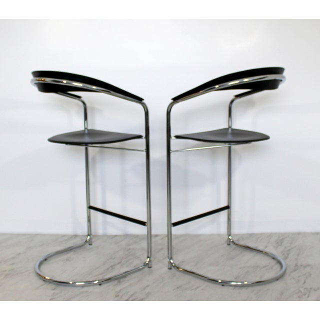 1970s 1970s Vintage Thonet Italian Mid Century Modern Bar Stools - a Pair For Sale - Image 5 of 9