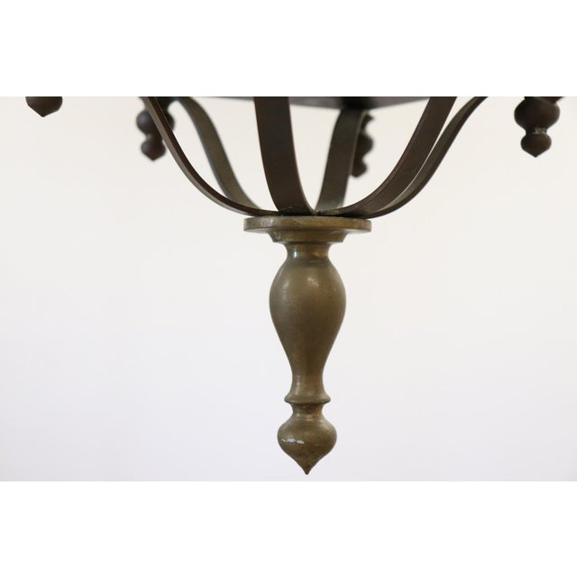 Brass 20th Century Italian Brass Lantern Three Lights For Sale - Image 7 of 8