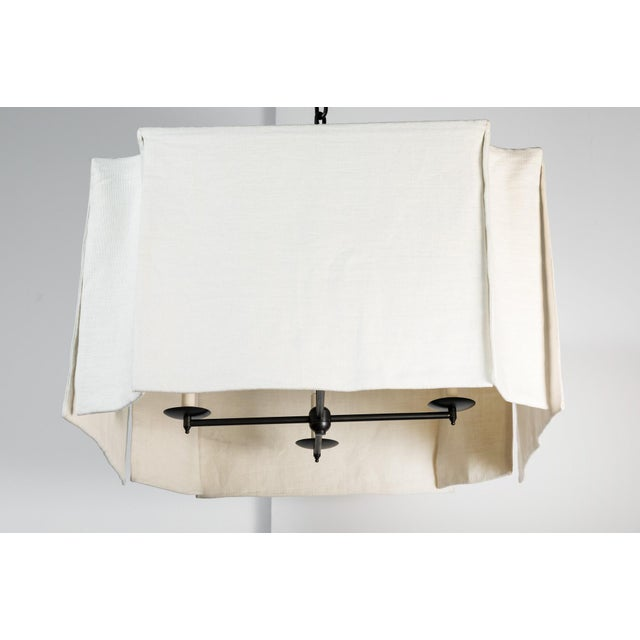 Modern Draped Linen Chandelier by Paul Marra For Sale - Image 9 of 9