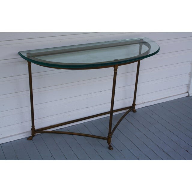 Mid 20th Century Brass & Glass Demi-Lune Table - Italian For Sale - Image 5 of 12