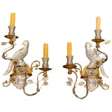 Image of Pair of Maison Baguès Style Crystal Bird Motif Two-Light Wall Sconces For Sale
