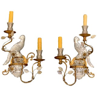 Pair of Maison Baguès Style Crystal Bird Motif Two-Light Wall Sconces For Sale