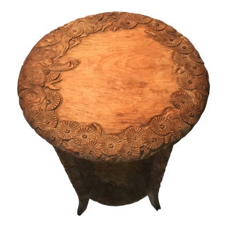 African Carved Monkey Side Table For Sale
