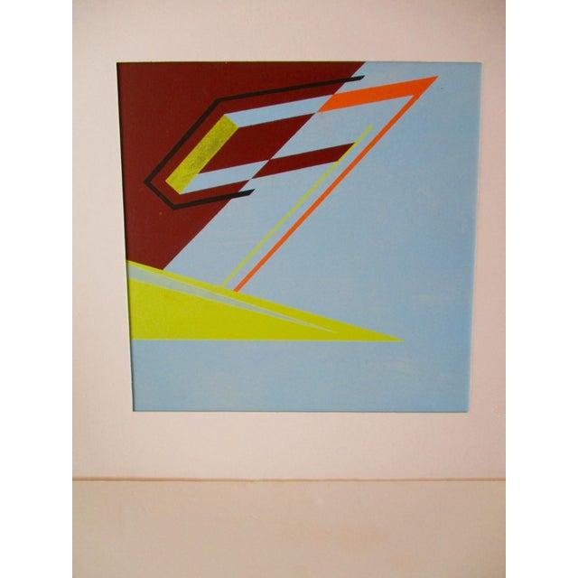 Abstract Geometric Acrylic Painting Hard Edge Style - Image 7 of 8