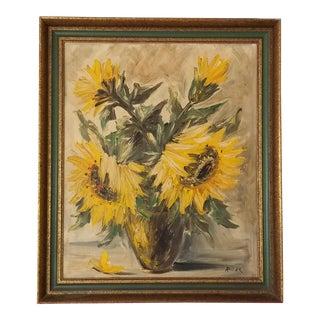 Austrian Artist Leo Ritter Still Life Sunflowers Oil on Canvas Painting . For Sale