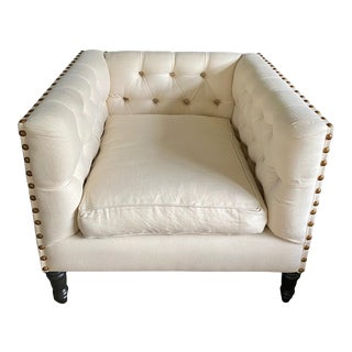 Cream Button Tufted Club Chair Slipcovered in Pendleton Wool For Sale