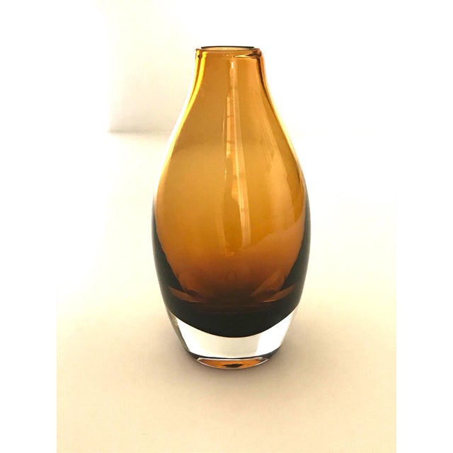 Vintage 1970s Scandinavian Modern Sommerso Glass Vase in Amber For Sale - Image 11 of 13