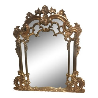 Vintage French Rococo Gold Gilt Mirror For Sale