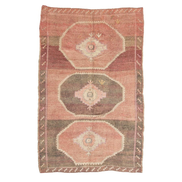 Textile Vintage Brown and Pink Large Turkish Kars Wool Rug For Sale - Image 7 of 7