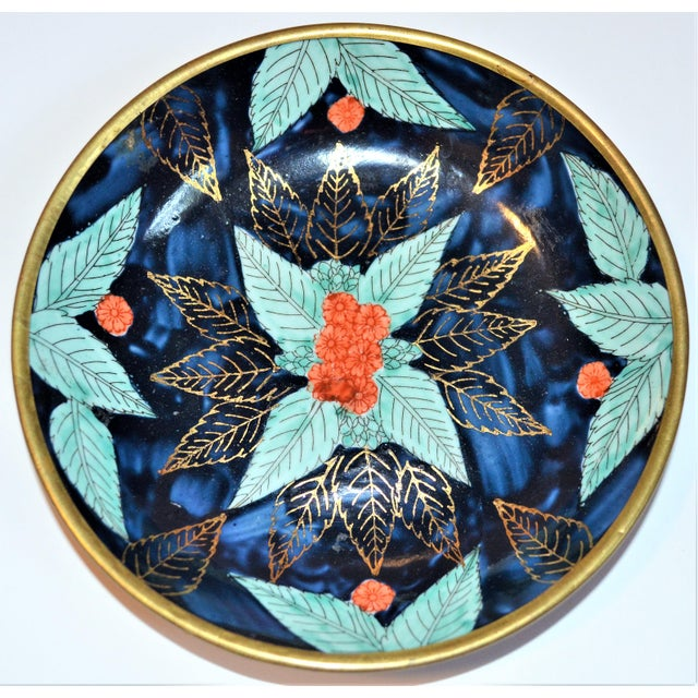 Vintage Asian Indigo and Turquoise Bowl Encased in Brass For Sale In Houston - Image 6 of 7