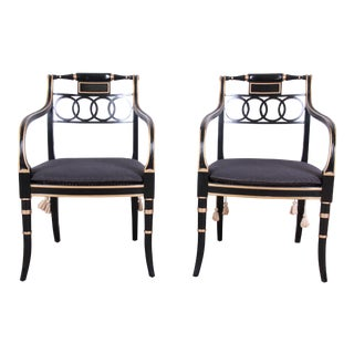 Baker Furniture Ebonized and Gold Gilt Regency Style Armchairs - a Pair For Sale