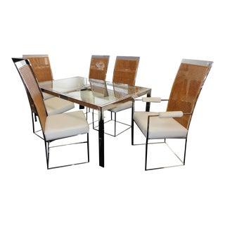 1970s Mid-Century Modern Milo Baughman Thayer Coggin Dining Set - 7 Pieces For Sale