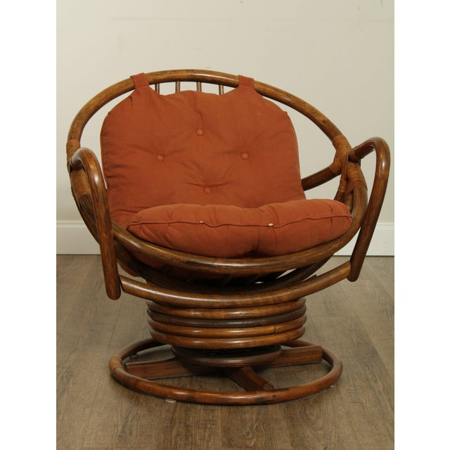 Mid Century Pair Rattan Swivel Rocking Lounge Chairs For Sale - Image 9 of 13