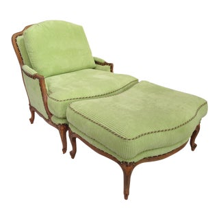 Taylor King Bergère Club Chair & Ottoman For Sale