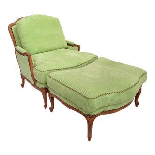 Taylor King Bergère Club Chair & Ottoman