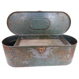 Vintage Metal Box With Wonderful Old Paint For Sale