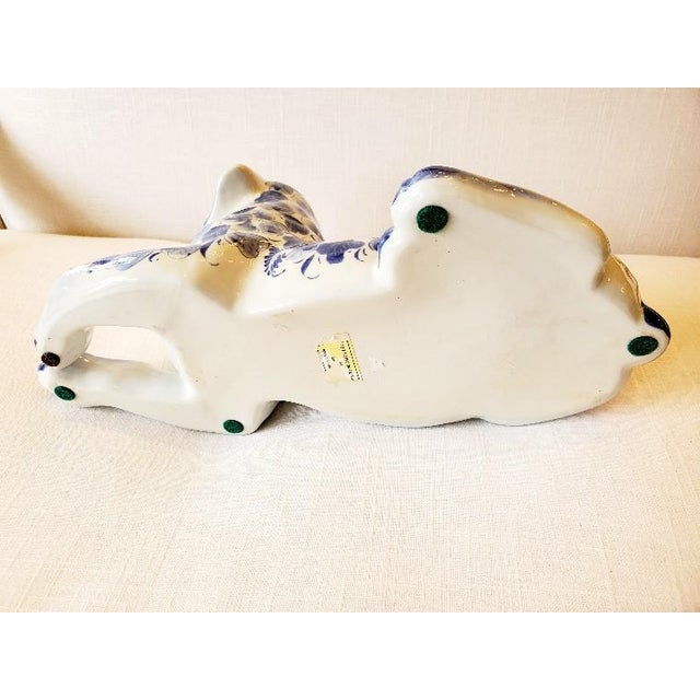 Blue and White Porcelain Dog Sculpture For Sale In Philadelphia - Image 6 of 7