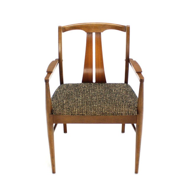 Six Mid-Century Modern Walnut Dining Chairs New Upholstery For Sale - Image 4 of 10