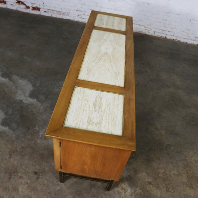 Mid Century Modern Credenza With Hutch Attributed to J. L. Metz Contempora Line For Sale - Image 10 of 13