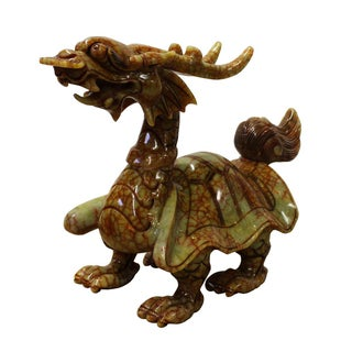 Chinese Oriental Orange Green Stone Carved Dragon Turtle Figure cs2630 Preview