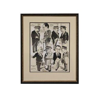 """Eight English Turf Racing Personalities"" Pen & Ink Drawing! For Sale"