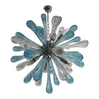 Contemporary Murano Glass Sputnik Chandelier With Random Blue and Transparent Drops For Sale