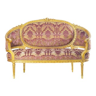 19th C. French Giltwood Settee Covered in Silk Velvet For Sale