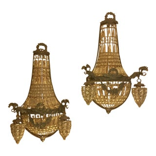 Elk Motif Crystal Sconces - A Pair