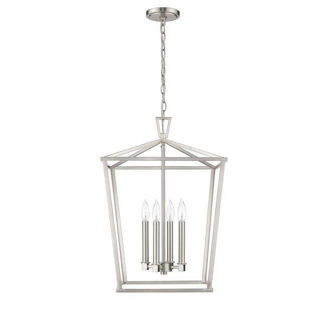 Ponce City 4 Light Pendant, Satin Nickel For Sale - Image 4 of 8