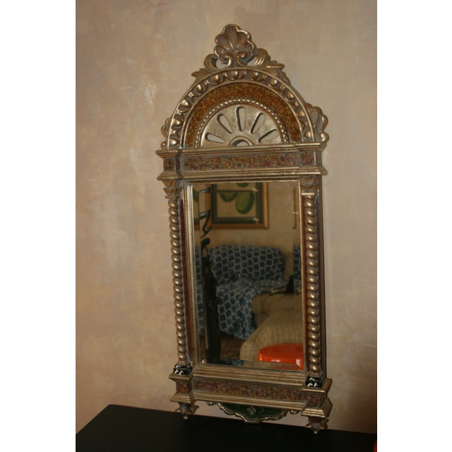 Glass Classical Styled Niche Mirror With Color Accents For Sale - Image 7 of 7