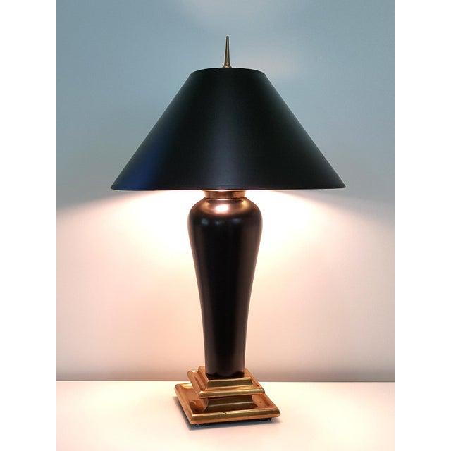 Chapman 1980s Art Deco Revival Black Ceramic Lamp - Image 2 of 10
