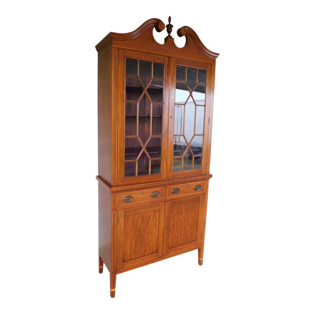 "Biggs Federal Hepplewhite Style 1Pc Mahogany Banded Cabinet 90""h X 40""w For Sale"