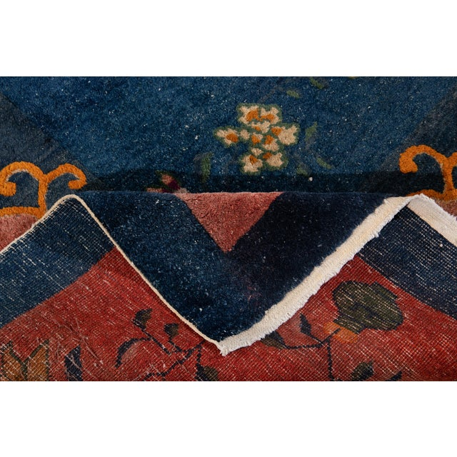 Art Deco Early 20th Century Antique Art Deco Chinese Square Wool Rug 13 X 12 For Sale - Image 3 of 13