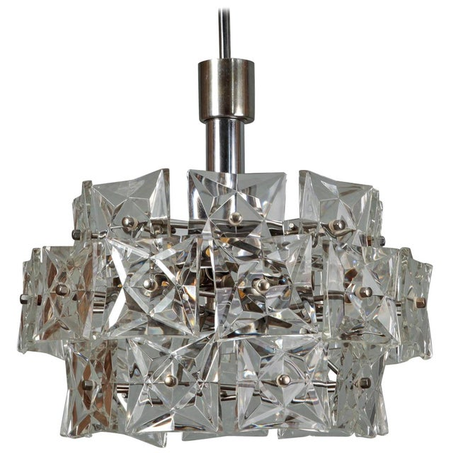 Crystal Hanging Fixture Attributed To Kinkeldey Silver Tone Ceiling Canopy Round Internal Structure Supports