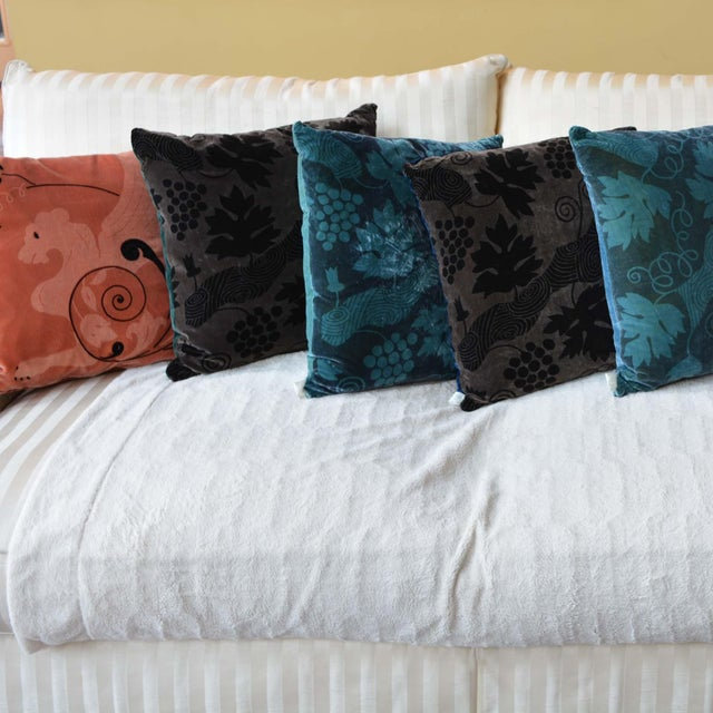Artist Hand-Dyed Cushions Teal Front Coordinating Blue Green Back For Sale - Image 4 of 5