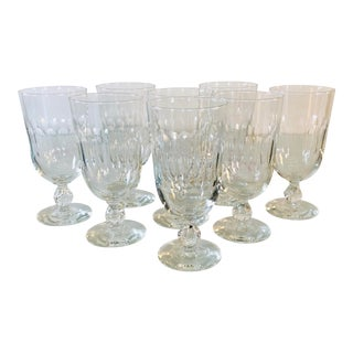 1950s Mitred Tall Glass Water Stems, Set of 8 For Sale