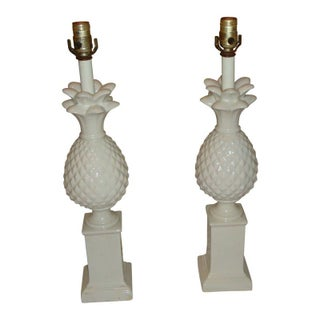 Vintage Hollywood Regency Pineapple Lamps - A Pair For Sale