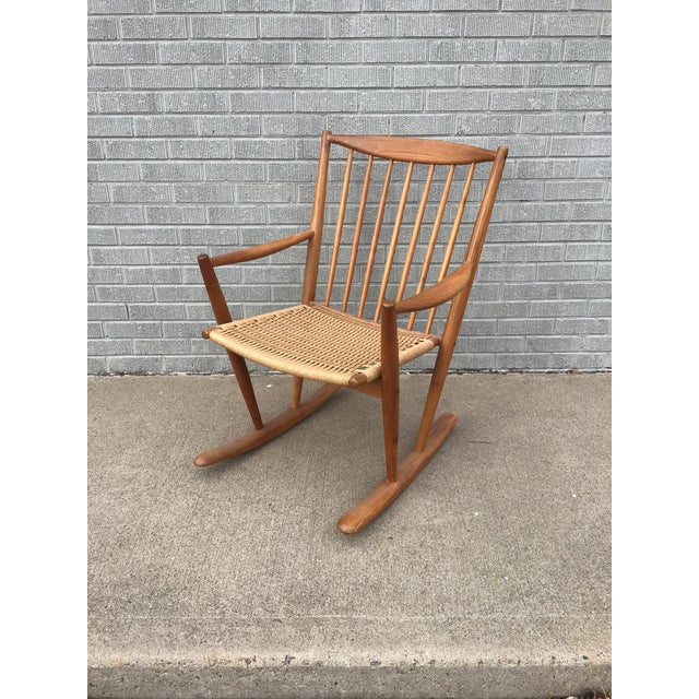 Brown Danish Modern Corded Seat Teak Rocking Chair For Sale - Image 8 of 8
