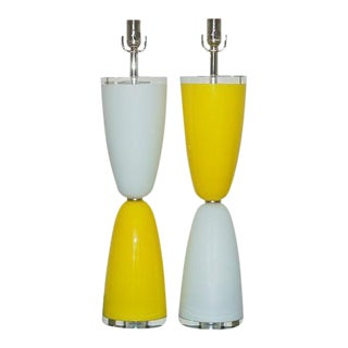 Vintage Murano Glass Table Lamps Yellow White For Sale