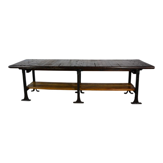 1950s Long Industrial Table 10 Ft. For Sale