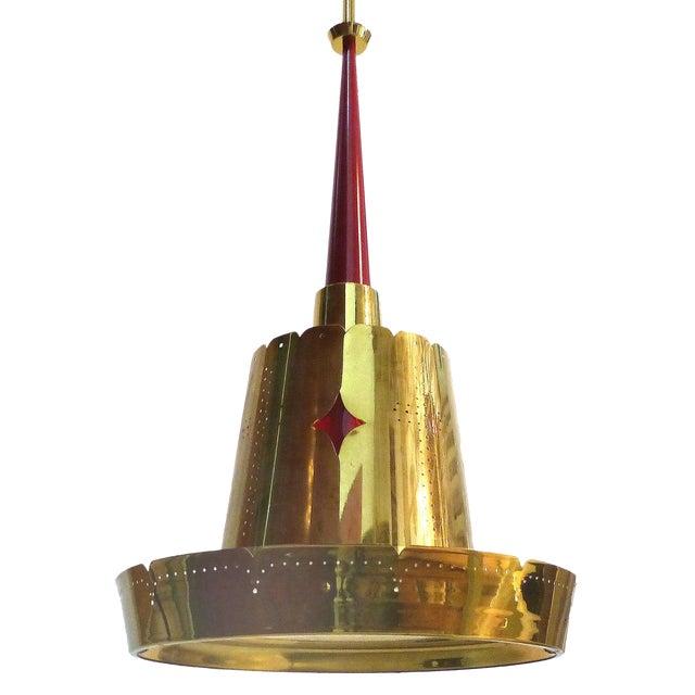 Mid-Century Modern Brass Pendant Fixture - Image 1 of 10