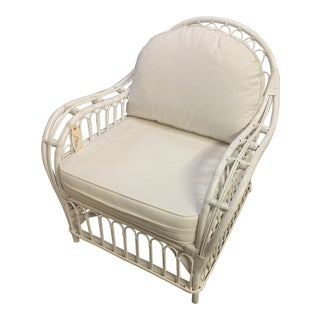 1960s Vintage White Rattan Club Chair For Sale