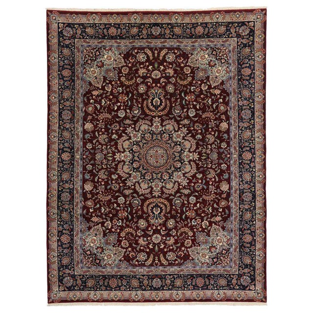 20th Century Chinese Persian Style Mashhad Area Rug - 8′9″ × 11′8″ For Sale - Image 4 of 4