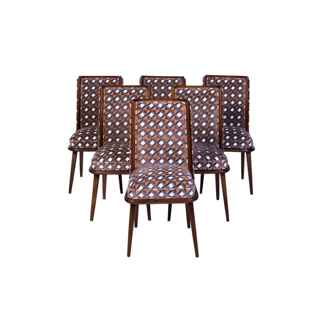 Fabric Set of Six Mid-Century Modernist Dining Chairs For Sale - Image 7 of 11